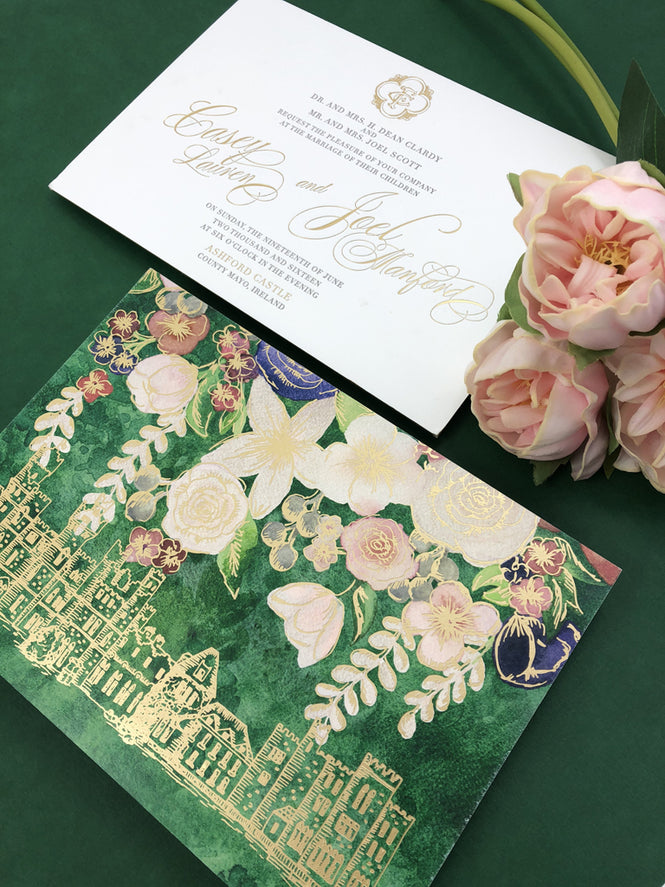 Ashford Castle in Ireland Inspired Wedding Invitation