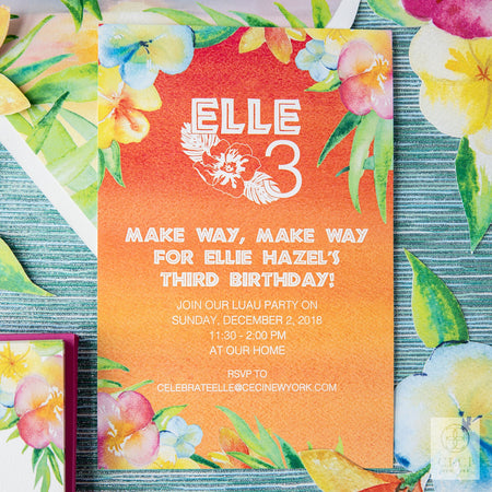 Elle's Moana Inspired 3rd Birthday Invitation With Watercolor Florals