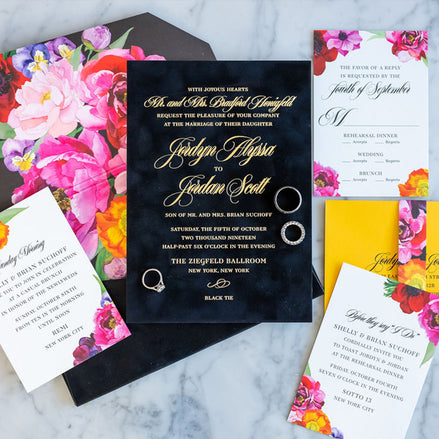 Black velvet and floral invitation