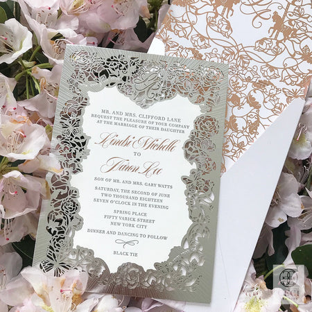 Lindsi Lane laser cut wedding invitation