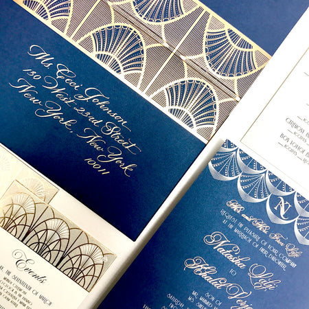 Blue and gold deco inspired wedding invitations