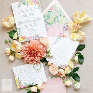 An English Tea Garden Inspired Floral Watercolor Invitation