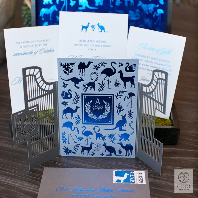 lasercut gate wedding invitation in blue velvet