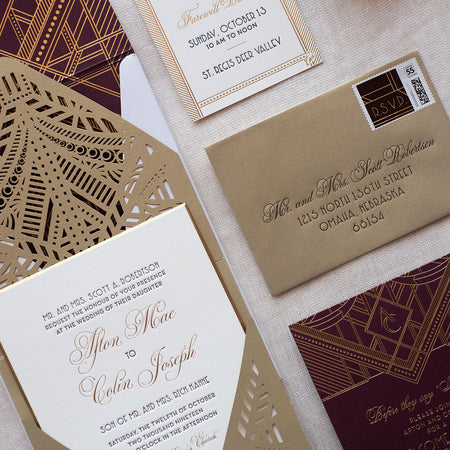Deco wedding invitation