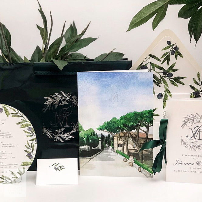 An Old World Italian Invitation With Watercolor Scenery and A Custom Crest