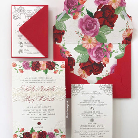 Dolce & Gabbana Inspired Wedding Invitations Featuring Watercolor Florals and Italian Lace