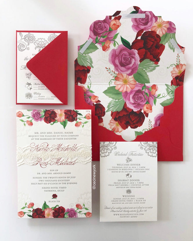 Dolce and Gabanna inspired wedding invitation