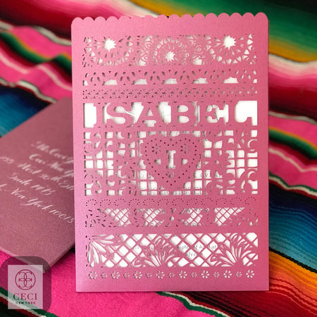 A Pink Glitter Quinceañera Invitation With Lasercut Sleeve And Mexican Inspired Design