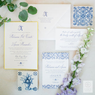 A Modern Watercolor Patterned Invitation Inspired By Old World Portuguese Tiles