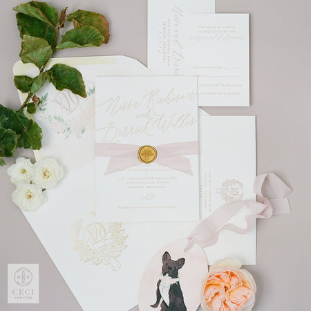A Nature Inspired Invitation With A Hand Drawn Crest And Wood Grain Patterning