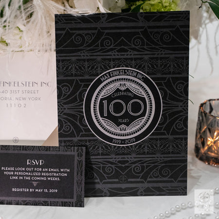 Great Gatsby inspired corporate event invitation