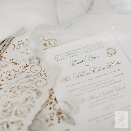 A Lace Invitation For Brooks Nader's Elegant White Wedding In New Orleans