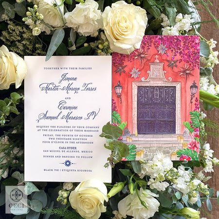 A Mexican Style Watercolor Invitation With Moravian Stars And Bright Florals