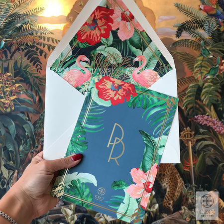 Art Deco Glam Invitation With Faena Mural Inspired Tropical Watercolor