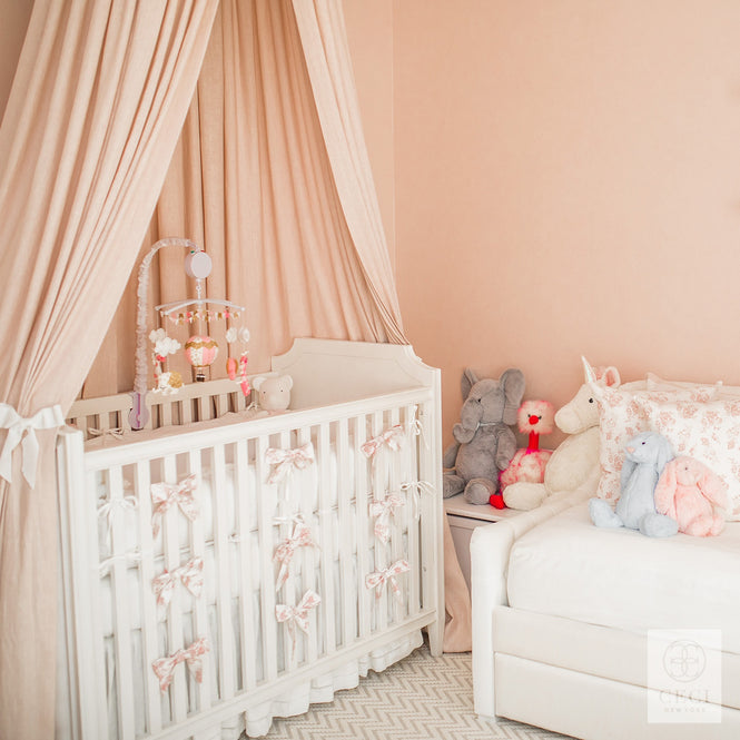 baby's room design with floral hand printed fabric