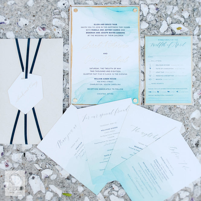 Teal Watercolor Dip Dyed Invitation With Linen and Hand Painted Gold Edges
