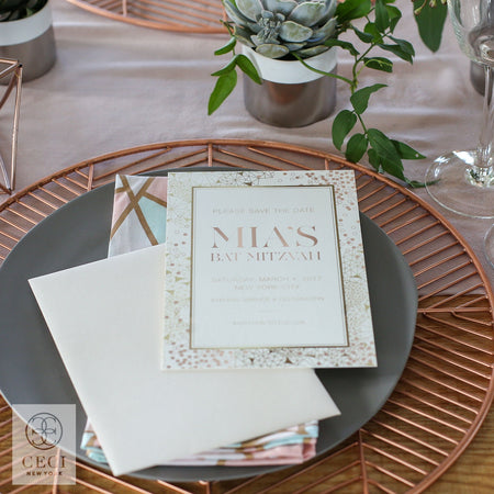 Modern, Geometric Invitation for Bat Mitzvah at Hudson Mercantile in New York City