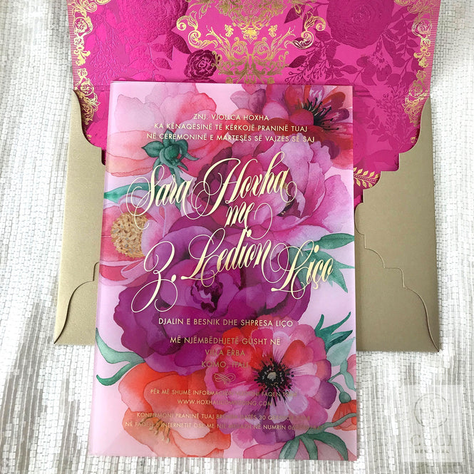 Pink Acrylic wedding Invitation
