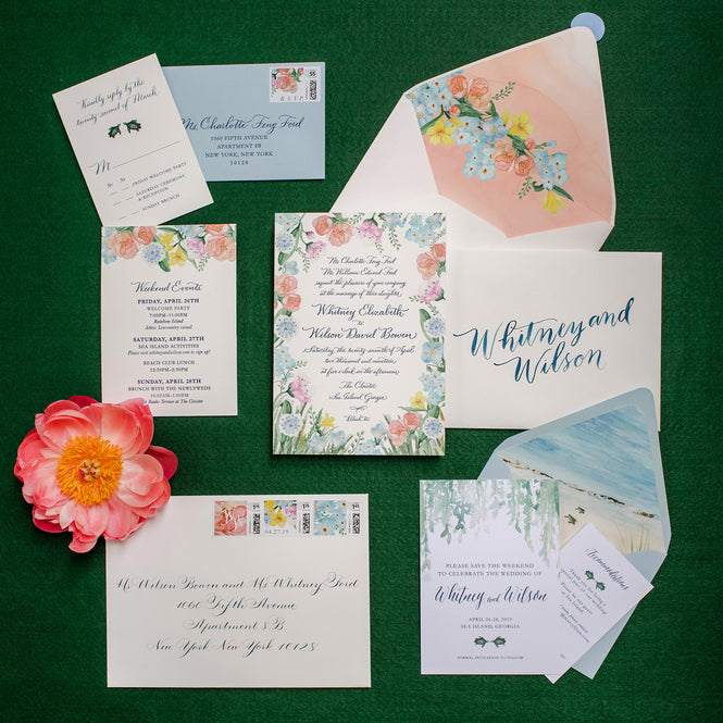 Botanical watercolor wedding invitation