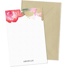 Load image into Gallery viewer, Camille Floral Watercolor personalized notecards