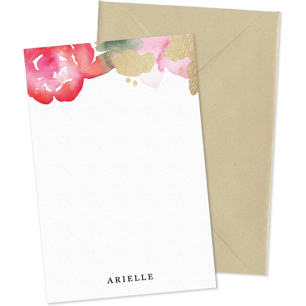 Camille Floral Watercolor personalized notecards