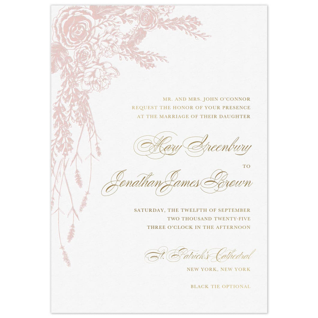 Opulent Rose Wreath Invitation