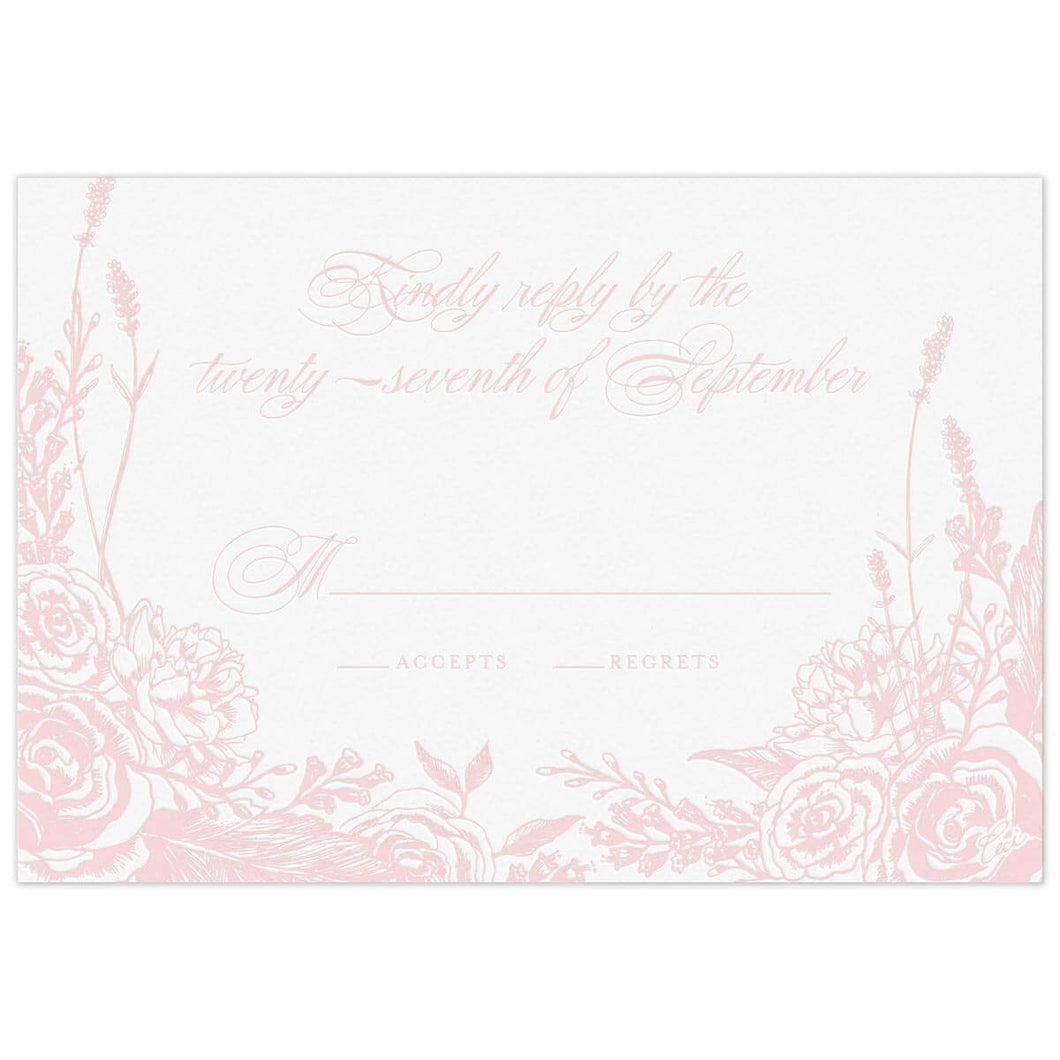 Romantic Rose Reply Card