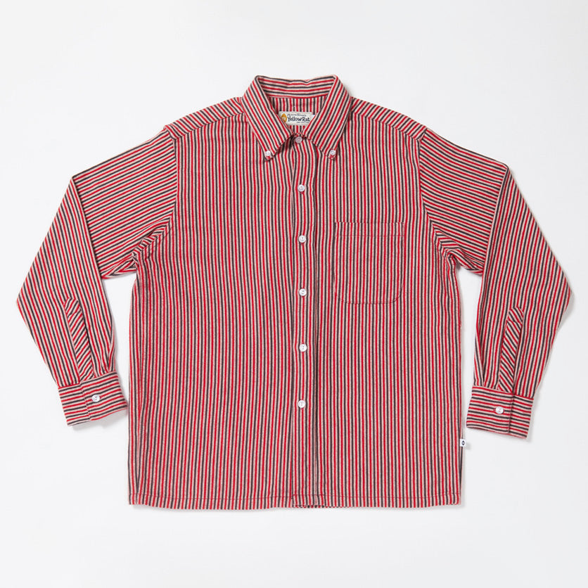 Convertible Collar Button-down in Striped Flannel (Red)