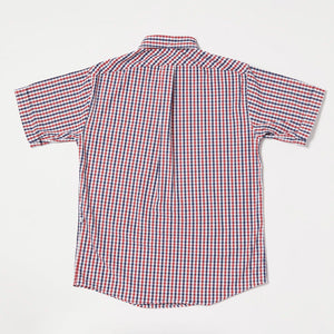 Pull Over Button-down Shirt II (Navy x Red)