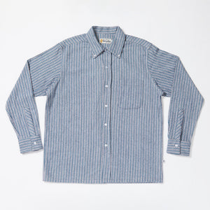 Convertible Collar Button-down in Striped Flannel (Ocean)