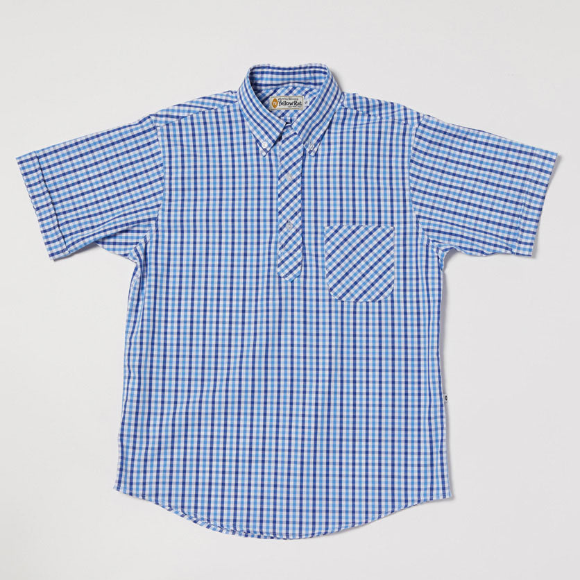 Pull Over Button-down Shirt II (Royal x Light Blue)