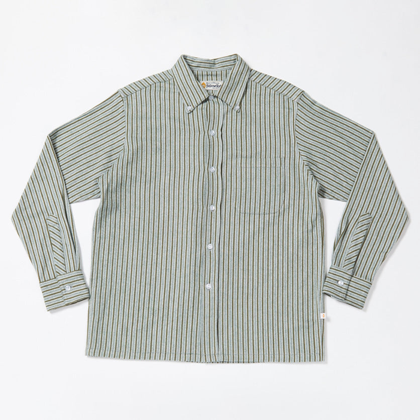 Convertible Collar Button-down in Striped Flannel (Green)