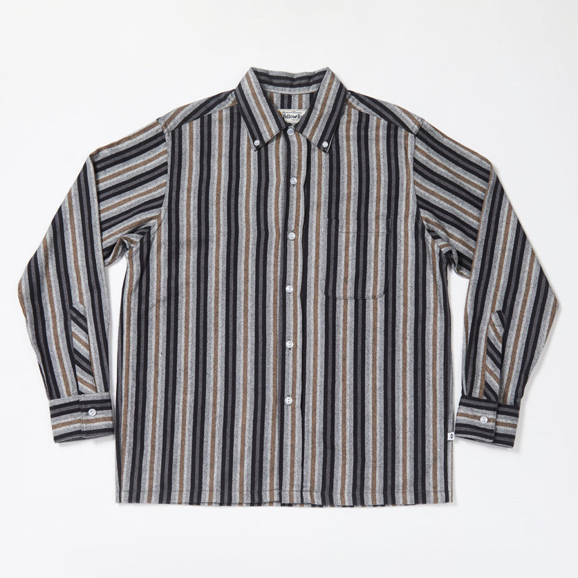 Convertible Collar Button-down in Striped Flannel (Black)