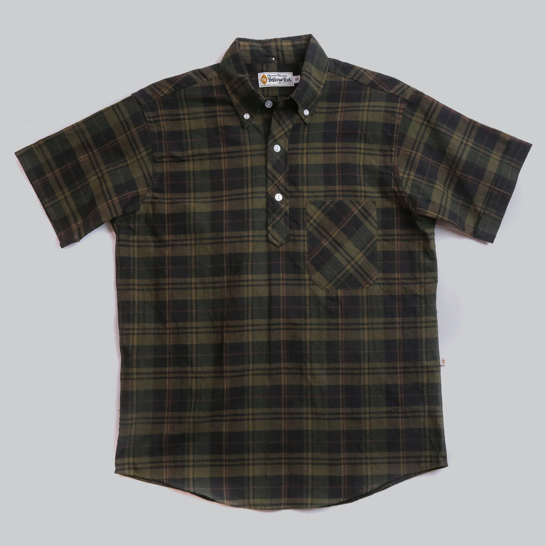 Pull Over Button-down Shirt I (Moss x Black)
