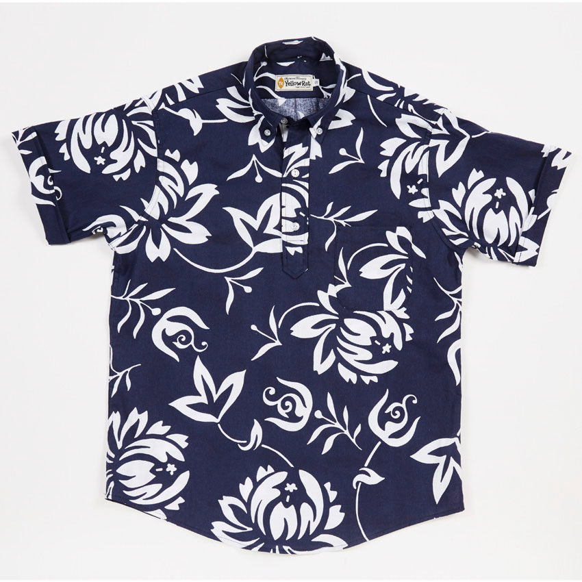 Pull Over Button-down Shirt (Hawaiian Print)