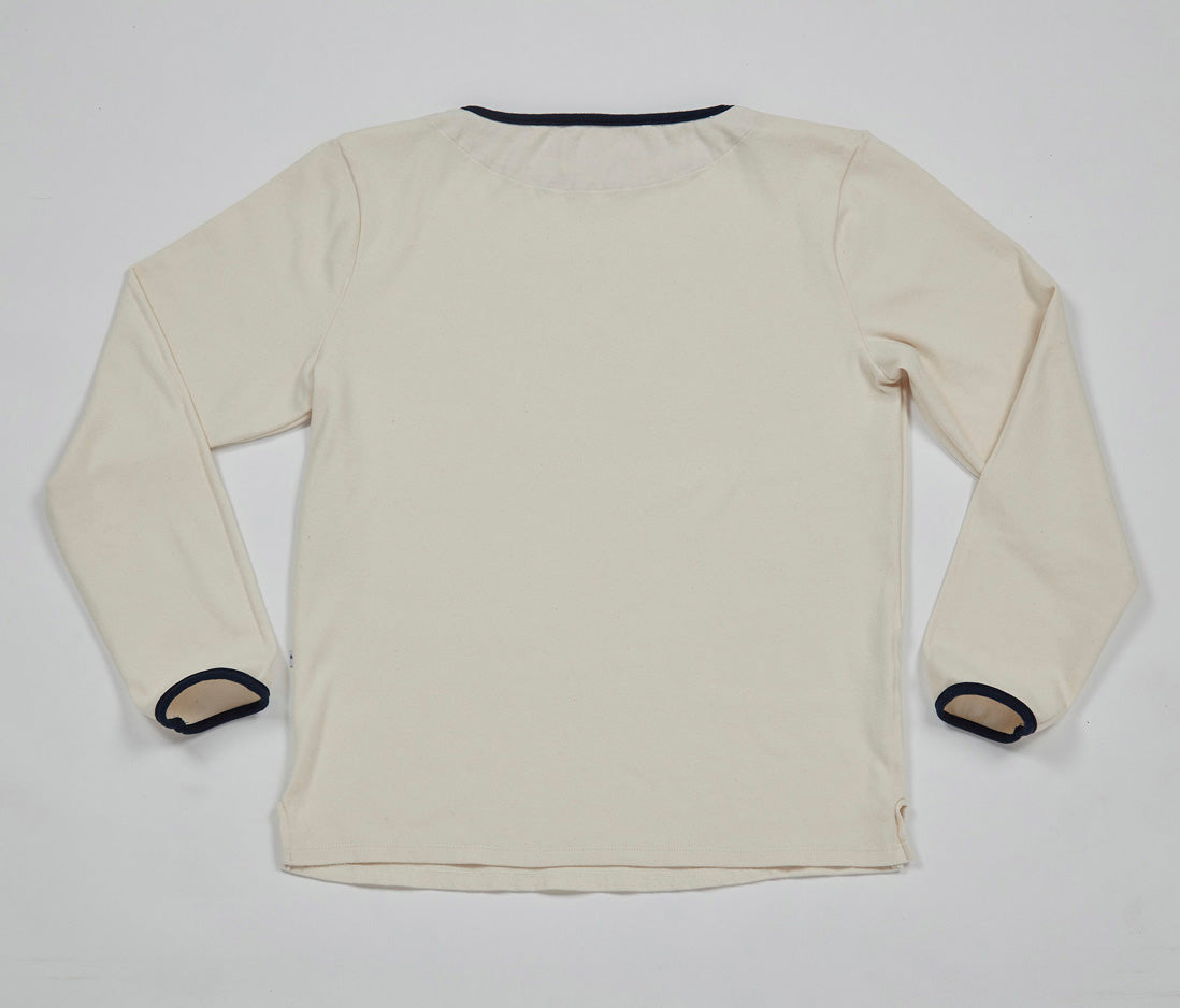 Boat Neck Shirt (Natural x Navy)