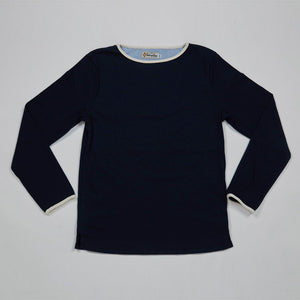 Boat Neck Shirt (Navy x Natural)