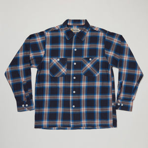 Round Collar Long Sleeve Shirt III (Navy x Red)