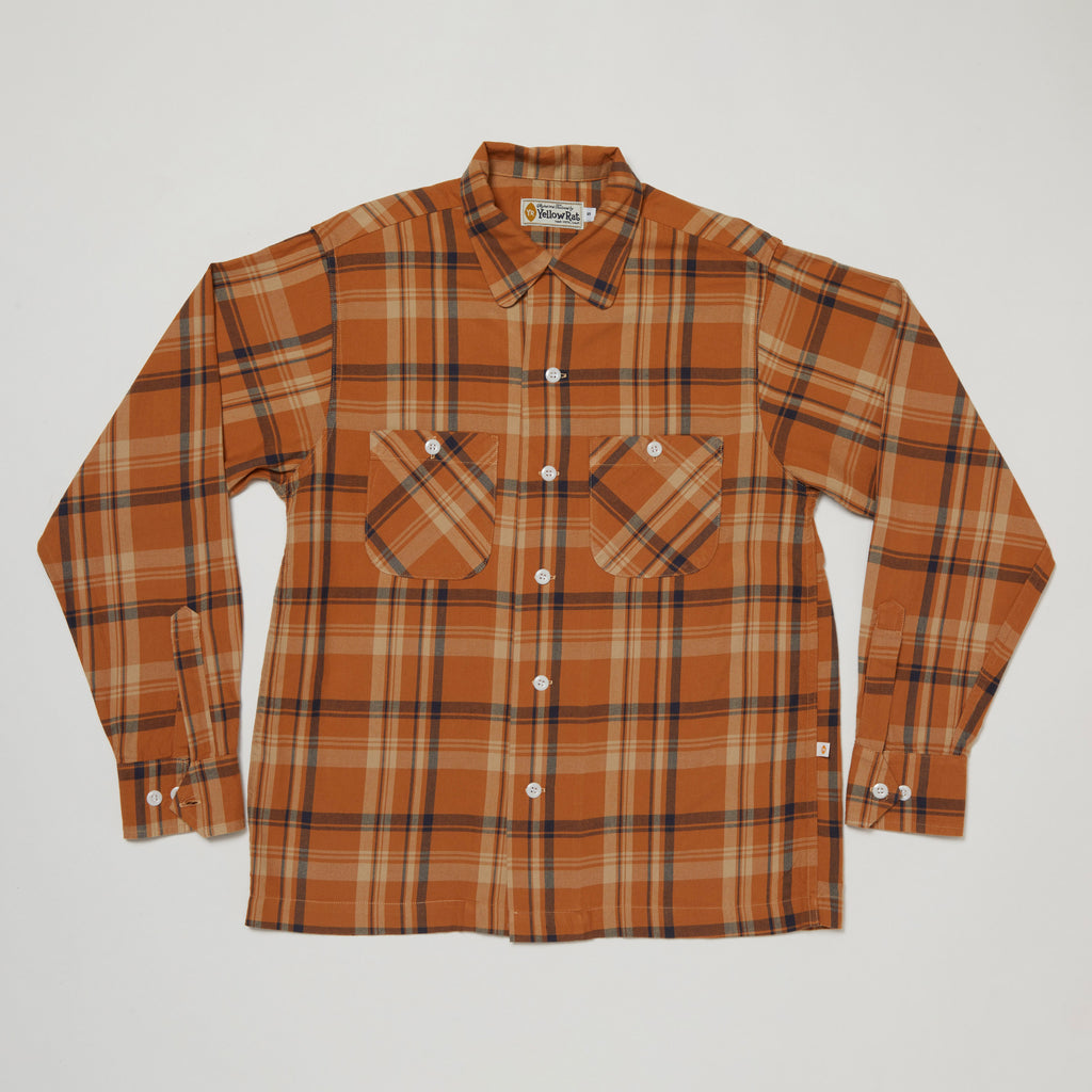 Round Collar Long Sleeve Shirt III (Camel x Navy)