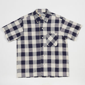 Round Collar Shirt (Navy x White)