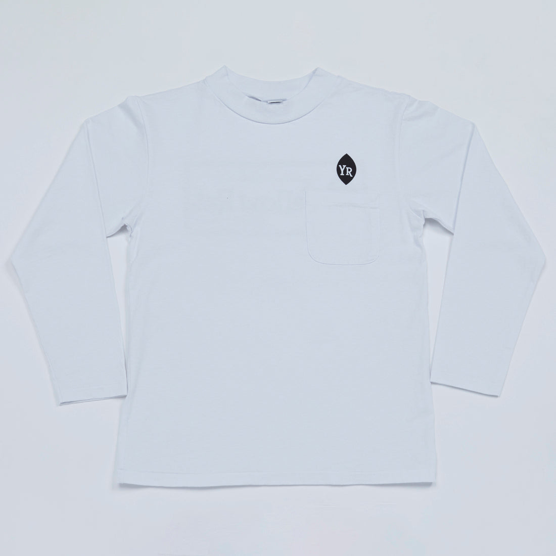 Classic Box Mock Neck Long Sleeve Tee (White)