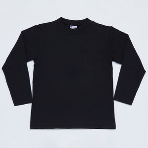 Mock Neck Long Sleeve Tee (Black)