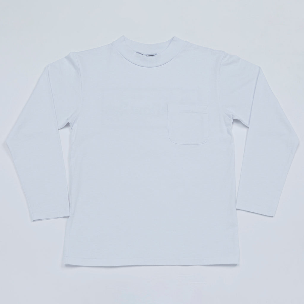 Mock Neck Long Sleeve Tee (White)