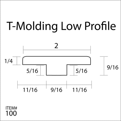 Flexitions Stainable Flexible T-Molding Low Profile 168""