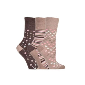 Bamboo neutral non binding socks with hearts dots and stripes