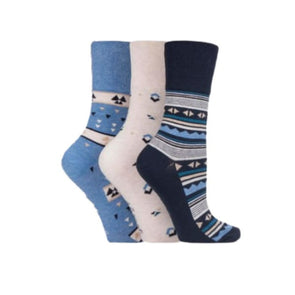 blue and beige non binding socks