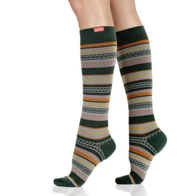 Fall striped compression socks for women with 15-20 mmHg