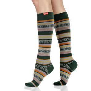 Fall striped compression socks for women with 20-30 mmHg