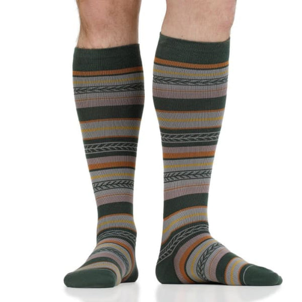 fall striped compression socks for men with 20-30 mmhg