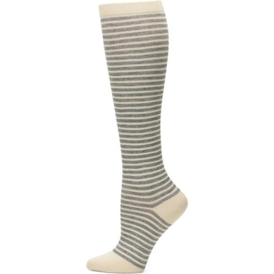 Grey striped compression socks